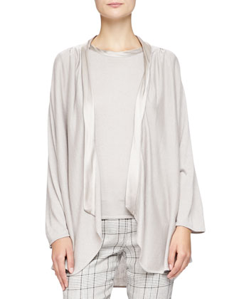 Satin-Trim Drape Cardigan, Almond