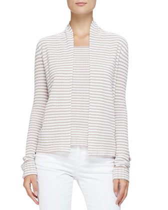 No-Closure Stripe Knit Cardigan, Mink/Multi