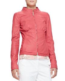 Lightweight Napa Leather Zip Jacket