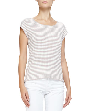 Cap-Sleeve Scoop-Neck Striped Top