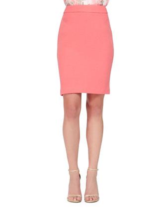 Double Crepe Pencil Skirt, Nasturtium