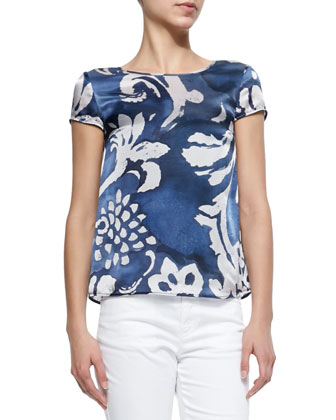Cap-Sleeve Floral Print Satin Tee