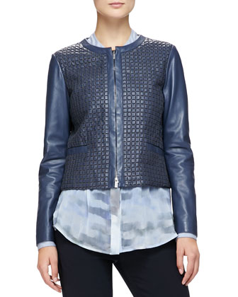 Jewel-Neck Woven Leather Jacket