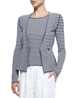 Striped Double-Breasted Knit Cardigan Jacket