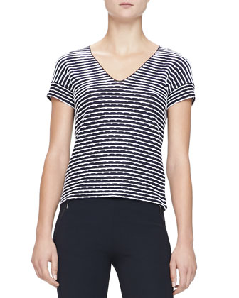 Texture-Striped Jersey Tee