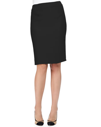 Double Crepe Pencil Skirt, Black