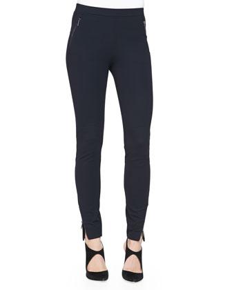 Jersey Leggings with Zipper Details