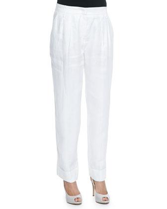 Linen Wide-Leg Cuffed Pants