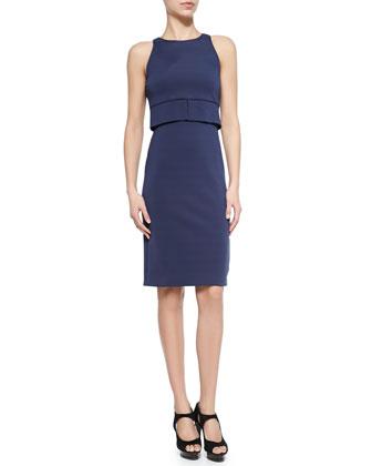 Sleeveless Pique Jersey Dress, Sapphire