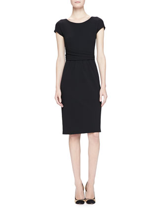 Cap-Sleeve Drape-Waist Sheath Dress