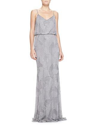 Beaded-Shell Blouson Slip Gown
