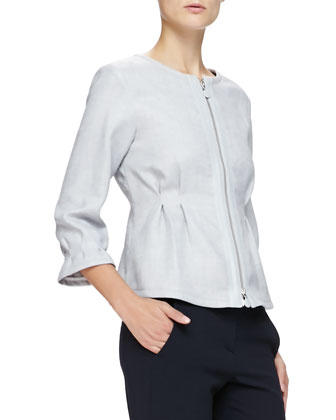 Jewel-Neck Zip-Front Pintucked Jacket, Gray