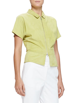 Short-Sleeve Suede Zip Jacket, Lime