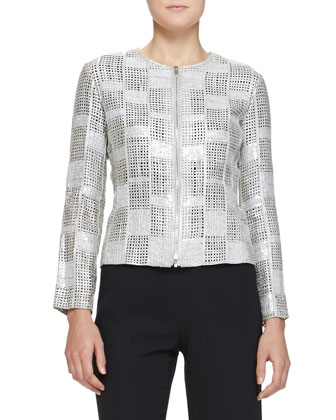 Sequined Suede Box-Weave Jacket