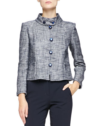 Micro-Pattern Cropped Jacket with Button-Band Collar