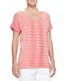 Diamond-Striped Knit Loose Top