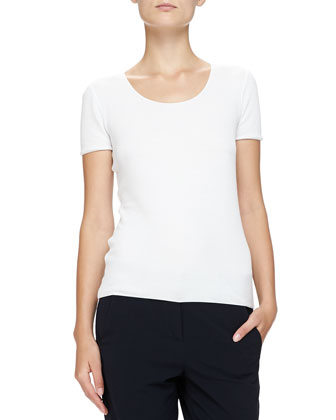 Textured Jersey Scoop-Neck Tee