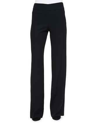Side-Zip Techno Cady Pants, Black