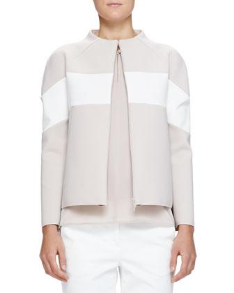 Colorblock Neoprene Zip Jacket