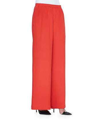 Pull-On Wide-Leg Trousers, Tomato