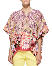 Flutter-Sleeve Paisley & Floral Jacket
