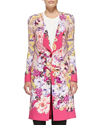 One-Button Paisley & Floral Cardigan