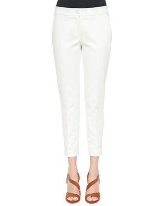 Cuffed Cigarette Capri Pants, White