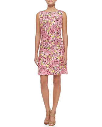 Peony Matelasse Sheath Dress