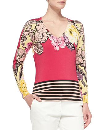 Long-Sleeve Floral Top W/ Striped Hem