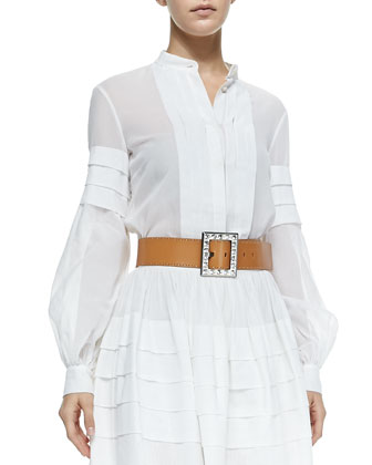 Band-Collar Pleated Shirt, Optic White