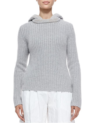 Shaker-Knit Cashmere Hoodie, Pearl Gray
