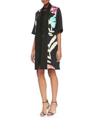 1/2-Sleeve Floral Kimono Topper Jacket