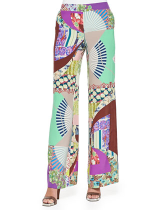 Wide-Leg Silk Patch-Print Pants
