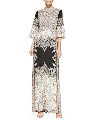 Flared-Sleeve Beaded Paisley Gown