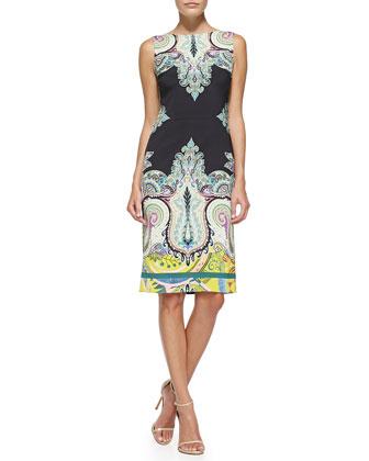 Sleeveless Fern & Paisley-Print Sheath Dress