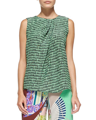 Sleeveless Ink-Print Top W/ Pleated Neck