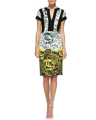 Deep Floral Sheath Dress W/ Bordered Bodice