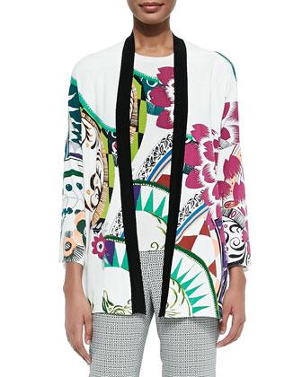 Petal-Print Stretch-Silk Cardigan