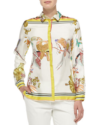 Long-Sleeve Silk Toucan-Print Blouse
