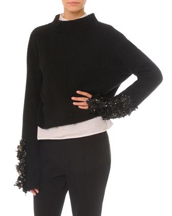 Embellished Split-Back Sweater