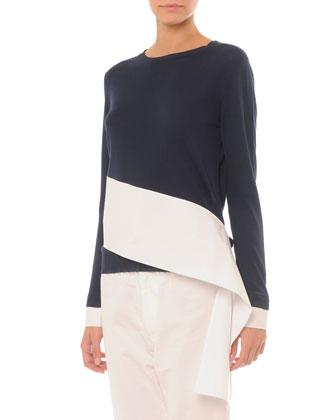 Asymmetric Colorblock Crew Sweater