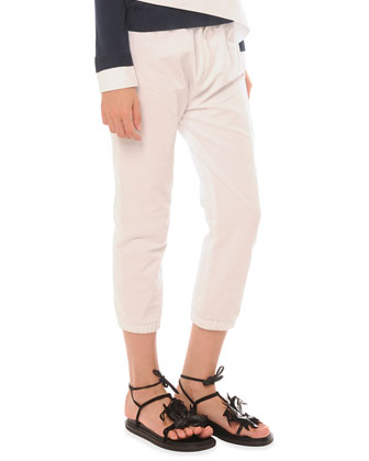 Elastic Cotton-Linen Ankle Pants