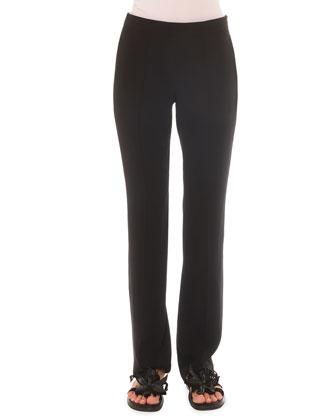 Side-Zip Slim Straight Pants