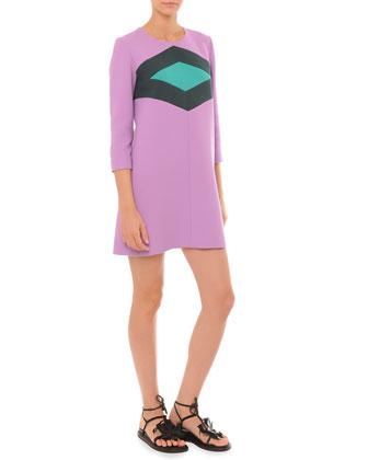 3/4-Sleeve Dress w/ Diamond-Print Chest