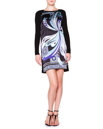 Printed Satin Dress with Long Knit Sleeves, Black/Blue