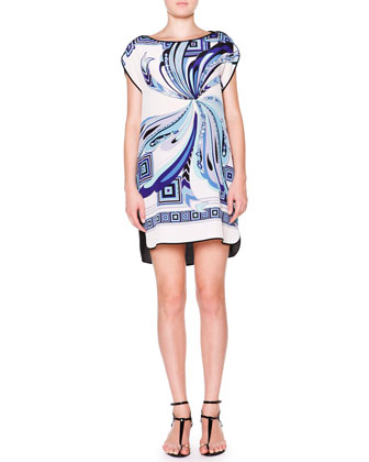 Cap-Sleeve Shift Dress, White/Cobalt
