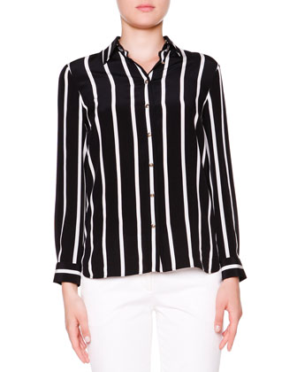 Silk Striped Button-Front Blouse