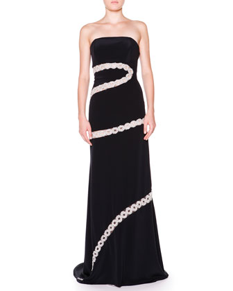 Strapless Crystal Chain A-Line Gown