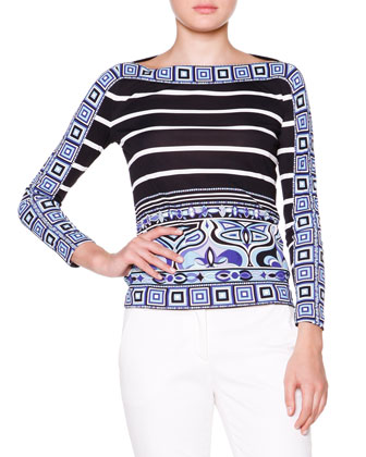Square-Print Trim Boat-Neck Top