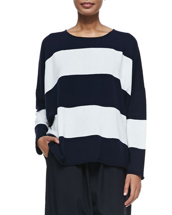 Cashmere Striped Sweater with Double Edges